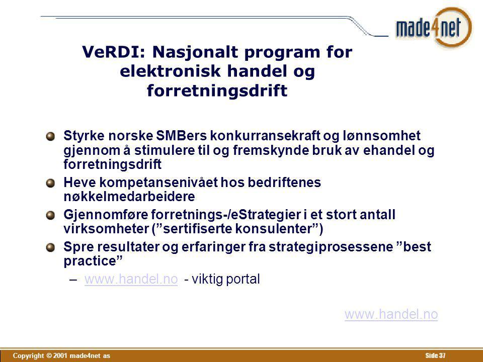 Copyright © 2001 made4net as Side 37 VeRDI: Nasjonalt program for elektronisk handel og forretningsdrift Styrke norske SMBers konkurransekraft og lønn