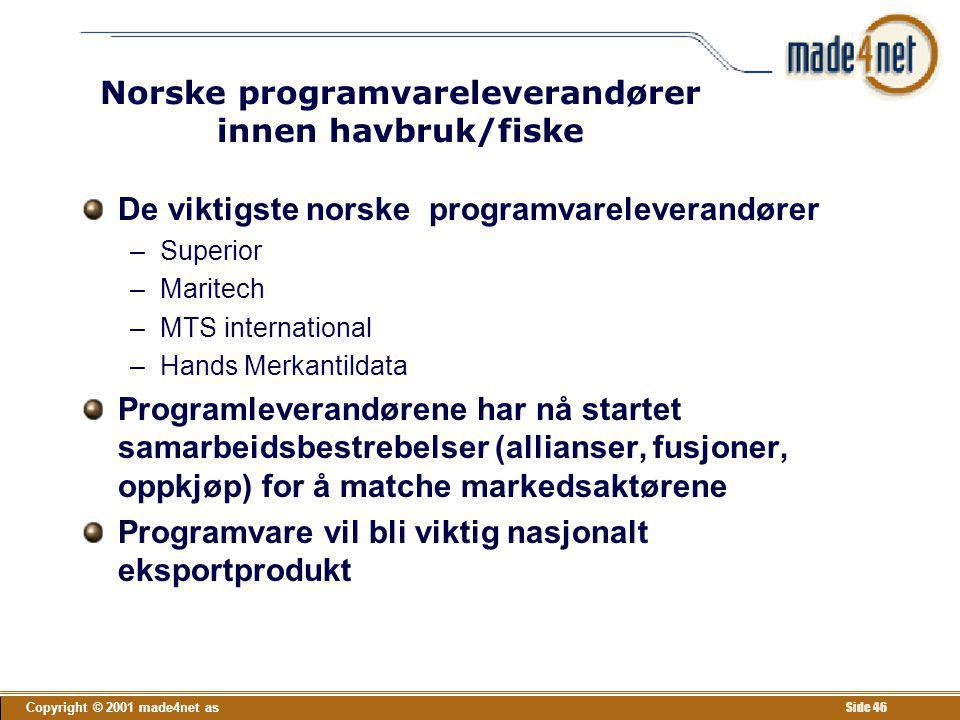 Copyright © 2001 made4net as Side 46 Norske programvareleverandører innen havbruk/fiske De viktigste norske programvareleverandører –Superior –Maritec