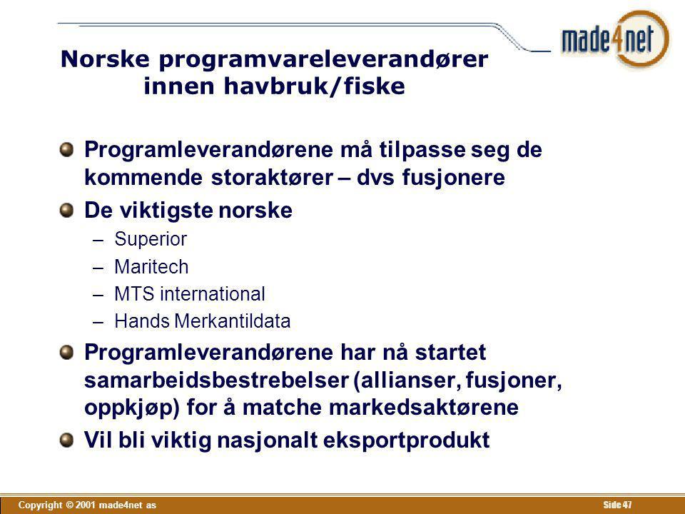 Copyright © 2001 made4net as Side 47 Norske programvareleverandører innen havbruk/fiske Programleverandørene må tilpasse seg de kommende storaktører –