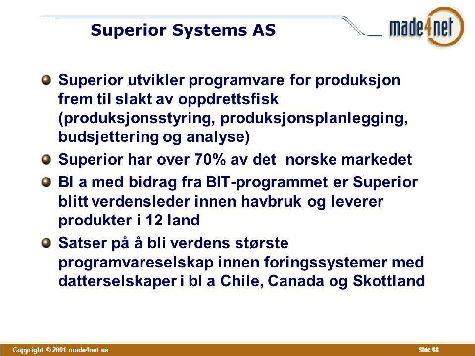 Copyright © 2001 made4net as Side 48 Superior Systems AS Superior utvikler programvare for produksjon frem til slakt av oppdrettsfisk (produksjonsstyr