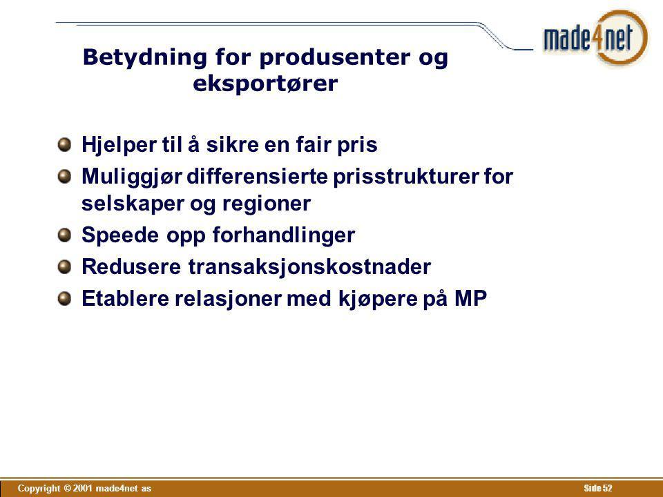 Copyright © 2001 made4net as Side 52 Betydning for produsenter og eksportører Hjelper til å sikre en fair pris Muliggjør differensierte prisstrukturer