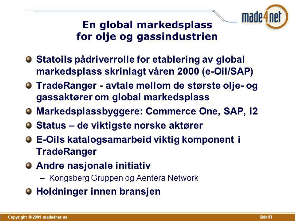 Copyright © 2001 made4net as Side 57 En global markedsplass for olje og gassindustrien Statoils pådriverrolle for etablering av global markedsplass sk