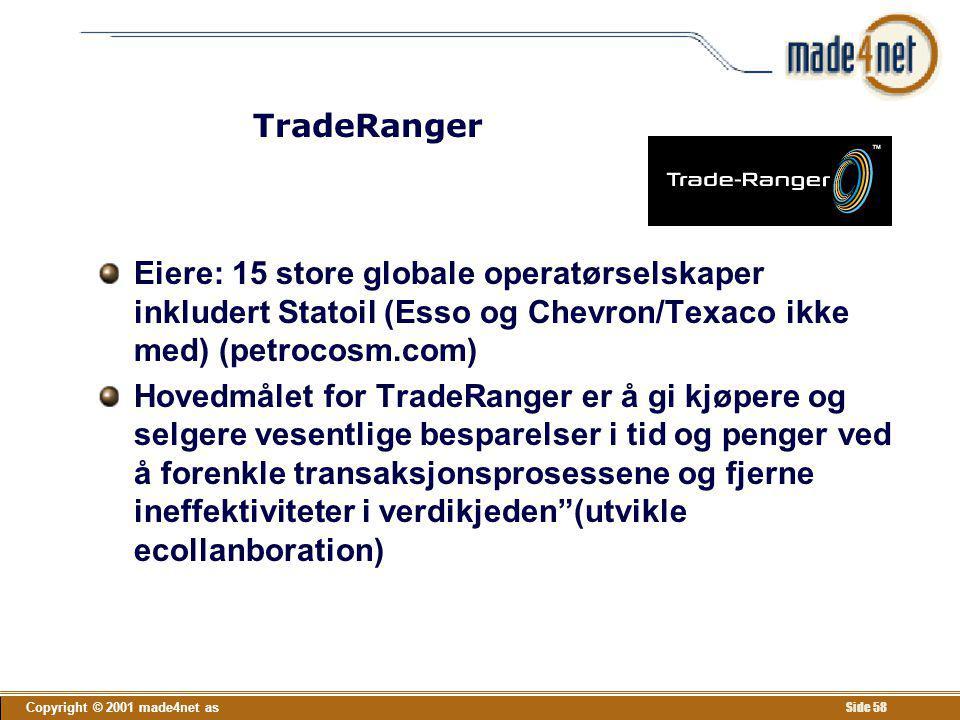 Copyright © 2001 made4net as Side 58 TradeRanger Eiere: 15 store globale operatørselskaper inkludert Statoil (Esso og Chevron/Texaco ikke med) (petroc