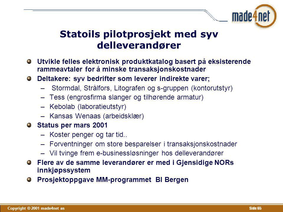 Copyright © 2001 made4net as Side 65 Statoils pilotprosjekt med syv delleverandører Utvikle felles elektronisk produktkatalog basert på eksisterende r