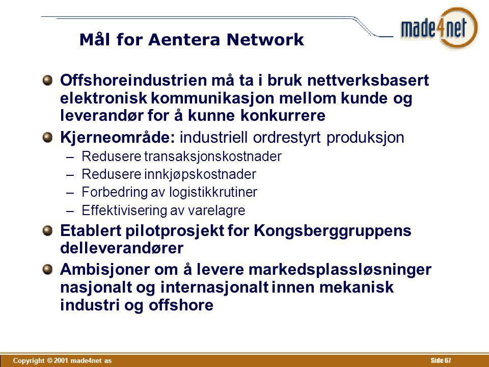 Copyright © 2001 made4net as Side 67 Mål for Aentera Network Offshoreindustrien må ta i bruk nettverksbasert elektronisk kommunikasjon mellom kunde og