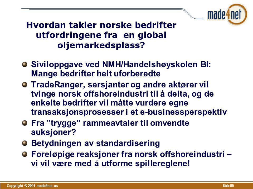 Copyright © 2001 made4net as Side 69 Hvordan takler norske bedrifter utfordringene fra en global oljemarkedsplass? Siviloppgave ved NMH/Handelshøyskol