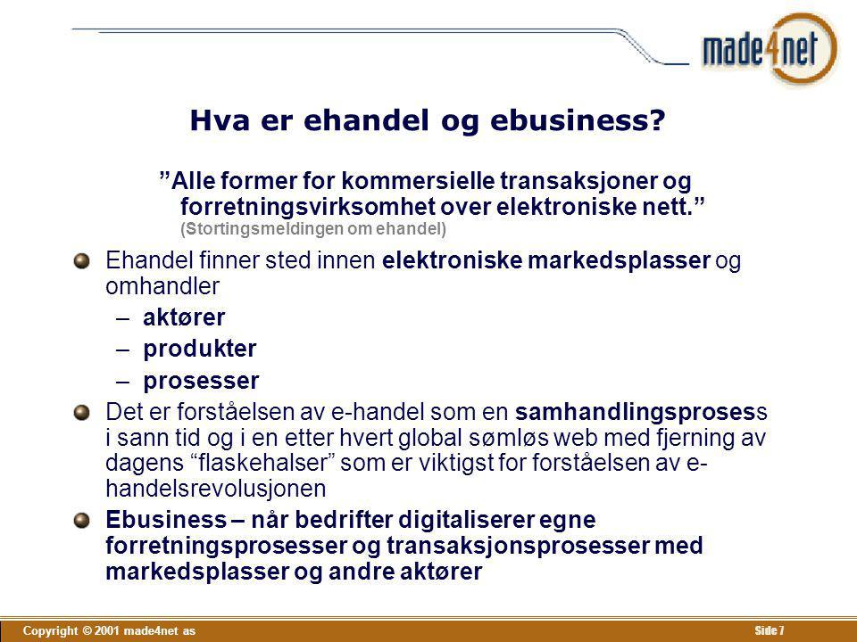 """Copyright © 2001 made4net as Side 7 Hva er ehandel og ebusiness? """"Alle former for kommersielle transaksjoner og forretningsvirksomhet over elektronisk"""