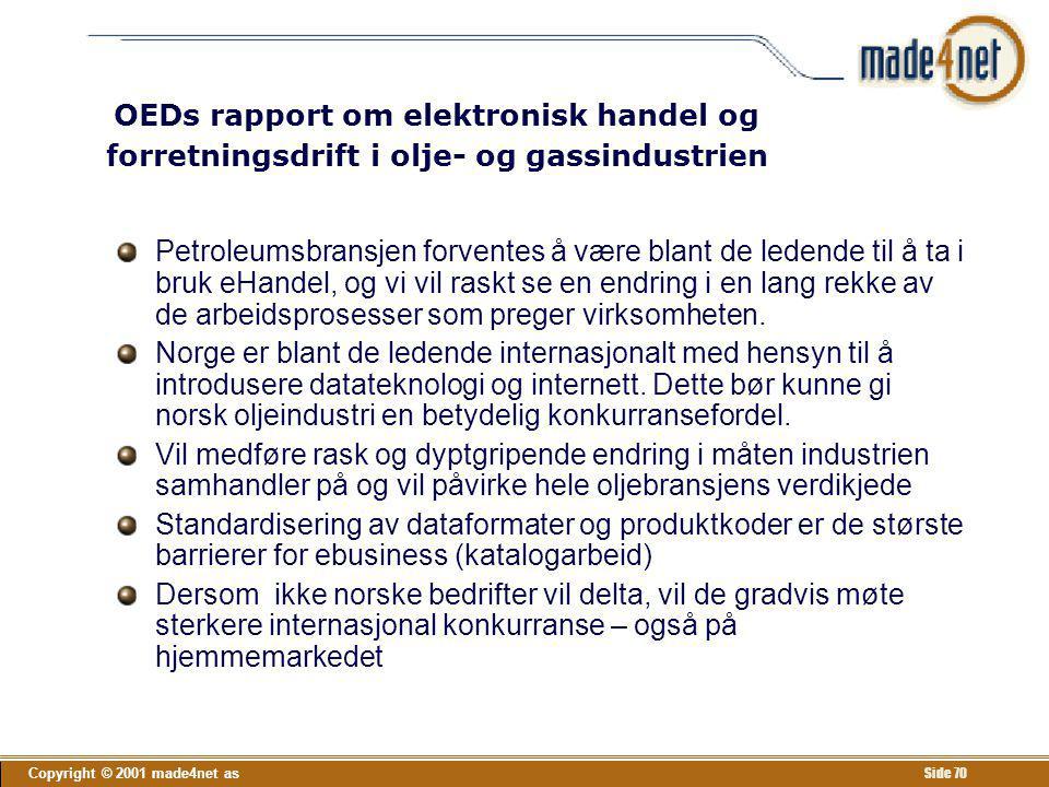 Copyright © 2001 made4net as Side 70 OEDs rapport om elektronisk handel og forretningsdrift i olje- og gassindustrien Petroleumsbransjen forventes å v