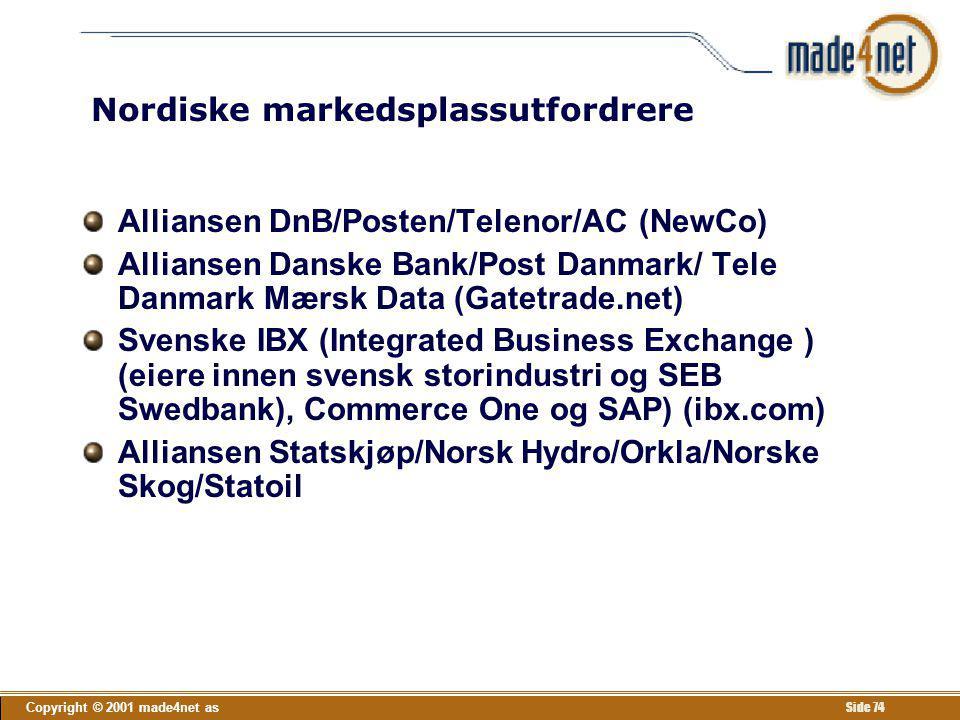 Copyright © 2001 made4net as Side 74 Nordiske markedsplassutfordrere Alliansen DnB/Posten/Telenor/AC (NewCo) Alliansen Danske Bank/Post Danmark/ Tele