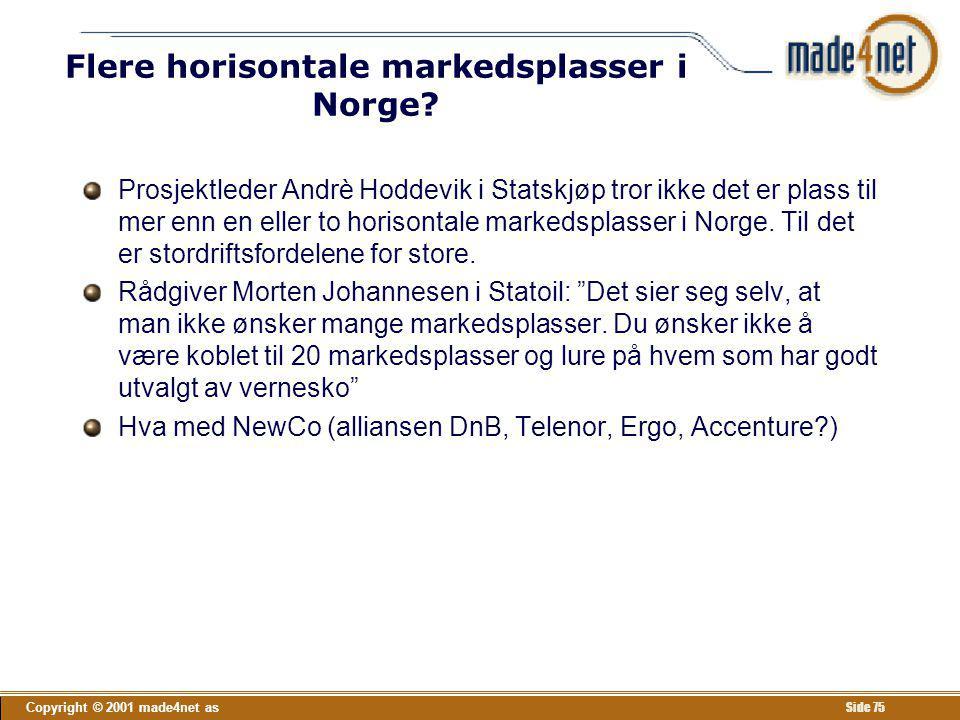 Copyright © 2001 made4net as Side 75 Flere horisontale markedsplasser i Norge? Prosjektleder Andrè Hoddevik i Statskjøp tror ikke det er plass til mer