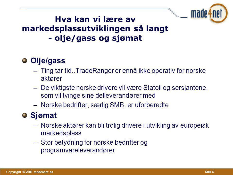 Copyright © 2001 made4net as Side 77 Hva kan vi lære av markedsplassutviklingen så langt - olje/gass og sjømat Olje/gass –Ting tar tid..TradeRanger er