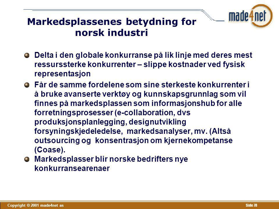 Copyright © 2001 made4net as Side 78 Markedsplassenes betydning for norsk industri Delta i den globale konkurranse på lik linje med deres mest ressurs