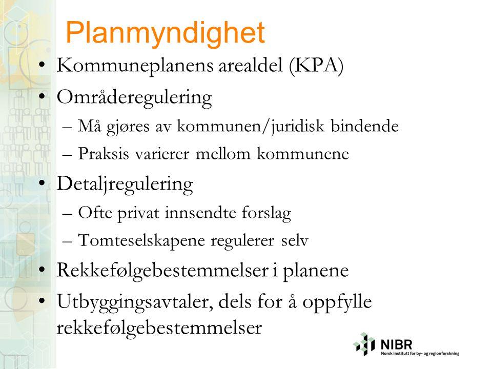 Planmyndighet Kommuneplanens arealdel (KPA) Områderegulering –Må gjøres av kommunen/juridisk bindende –Praksis varierer mellom kommunene Detaljreguler