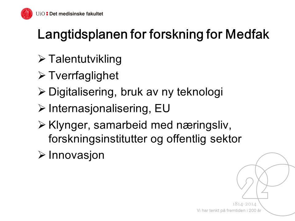 Langtidsplanen for forskning for Medfak  Talentutvikling  Tverrfaglighet  Digitalisering, bruk av ny teknologi  Internasjonalisering, EU  Klynger