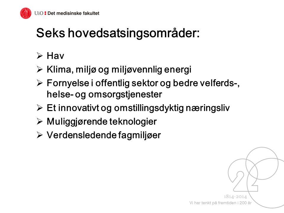 Seks hovedsatsingsområder:  Hav  Klima, miljø og miljøvennlig energi  Fornyelse i offentlig sektor og bedre velferds-, helse- og omsorgstjenester 