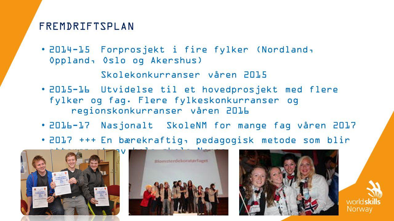 FREMDRIFTSPLAN 2014-15Forprosjekt i fire fylker (Nordland, Oppland, Oslo og Akershus) Skolekonkurranser våren 2015 2015-16Utvidelse til et hovedprosjekt med flere fylker og fag.
