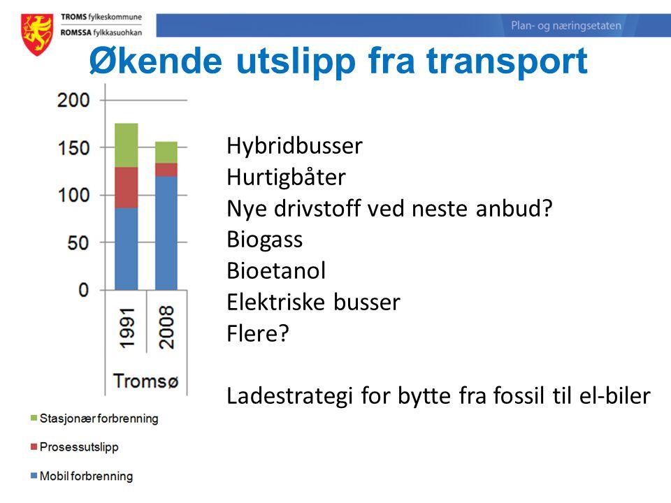 Økende utslipp fra transport Hybridbusser Hurtigbåter Nye drivstoff ved neste anbud? Biogass Bioetanol Elektriske busser Flere? Ladestrategi for bytte