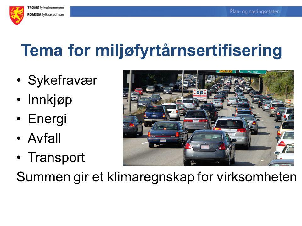 Tema for miljøfyrtårnsertifisering Sykefravær Innkjøp Energi Avfall Transport Summen gir et klimaregnskap for virksomheten
