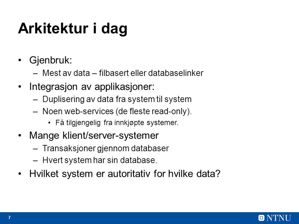 7 Arkitektur i dag Gjenbruk: –Mest av data – filbasert eller databaselinker Integrasjon av applikasjoner: –Duplisering av data fra system til system –