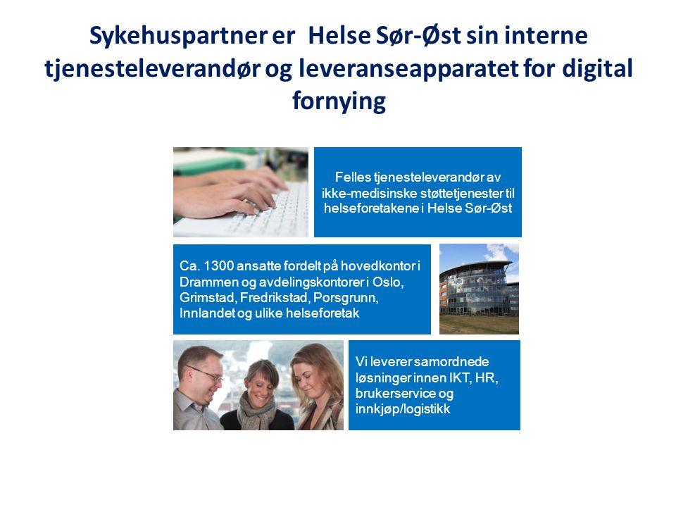 Ca. 1300 ansatte fordelt på hovedkontor i Drammen og avdelingskontorer i Oslo, Grimstad, Fredrikstad, Porsgrunn, Innlandet og ulike helseforetak Felle