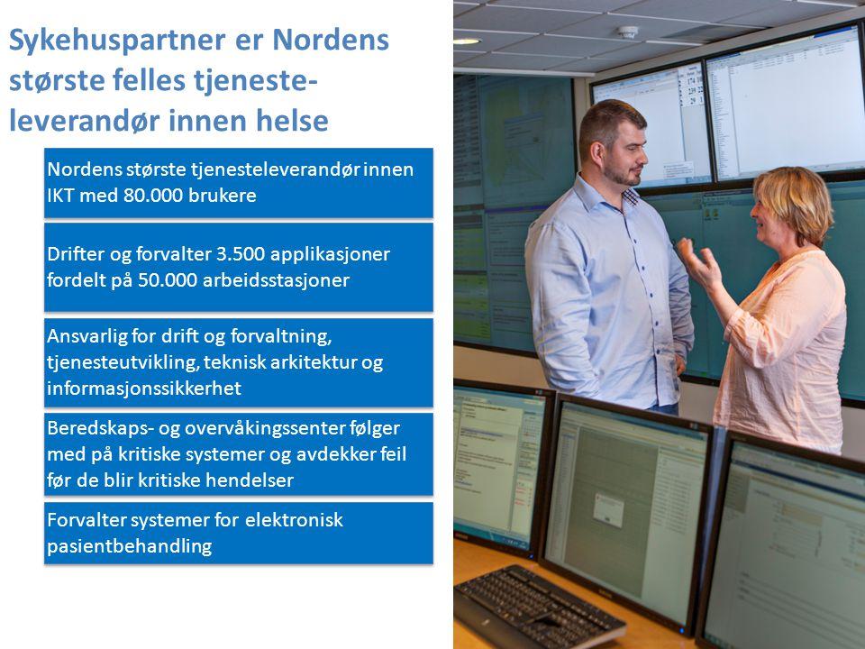 Nordens største tjenesteleverandør innen IKT med 80.000 brukere Forvalter systemer for elektronisk pasientbehandling Drifter og forvalter 3.500 applik