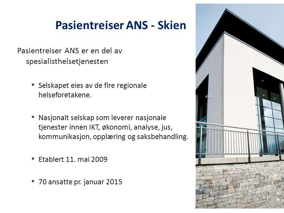 Pasientreiser ANS er en del av spesialisthelsetjenesten Selskapet eies av de fire regionale helseforetakene. Nasjonalt selskap som leverer nasjonale t