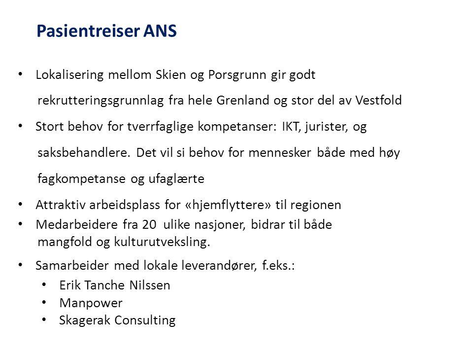Lokalisering mellom Skien og Porsgrunn gir godt rekrutteringsgrunnlag fra hele Grenland og stor del av Vestfold Stort behov for tverrfaglige kompetans