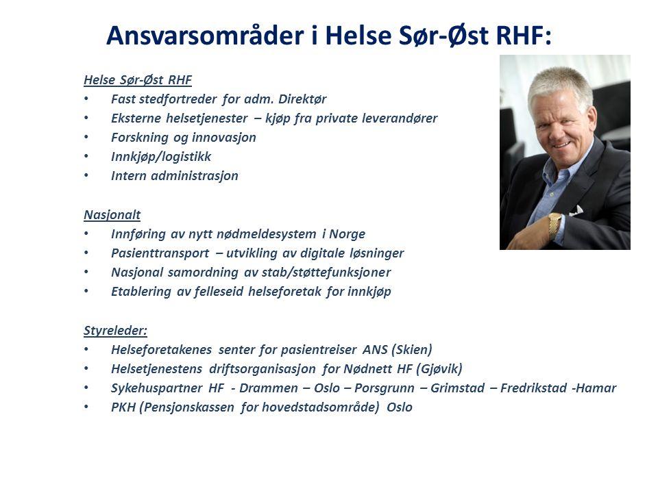 Ansvarsområder i Helse Sør-Øst RHF: Helse Sør-Øst RHF Fast stedfortreder for adm. Direktør Eksterne helsetjenester – kjøp fra private leverandører For