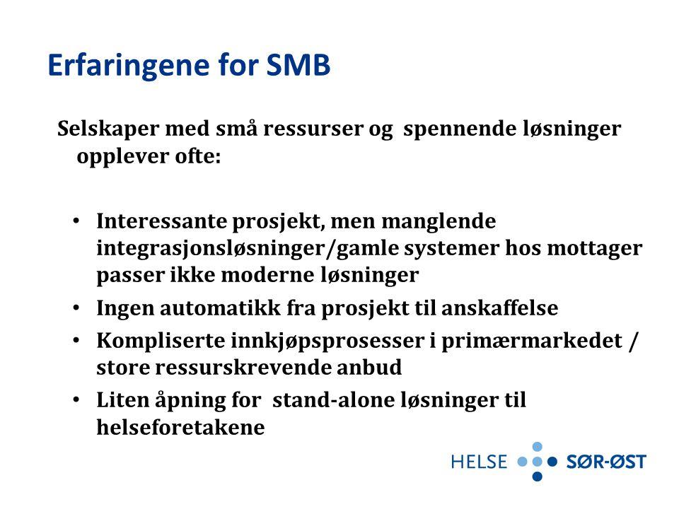 Erfaringene for SMB Selskaper med små ressurser og spennende løsninger opplever ofte: Interessante prosjekt, men manglende integrasjonsløsninger/gamle