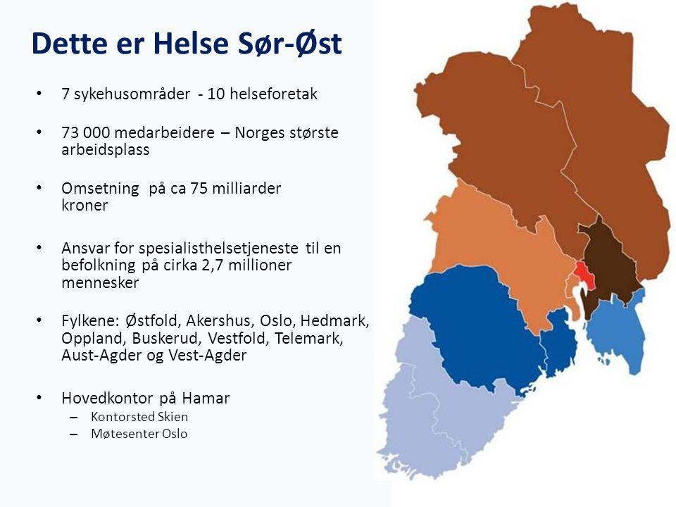 Dette er Helse Sør-Øst 7 sykehusområder - 10 helseforetak 73 000 medarbeidere – Norges største arbeidsplass Omsetning på ca 75 milliarder kroner Ansva