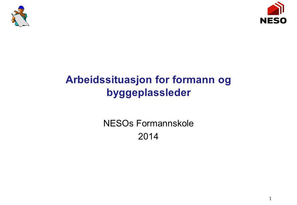 Arbeidssituasjon for formann og byggeplassleder NESOs Formannskole 2014 1