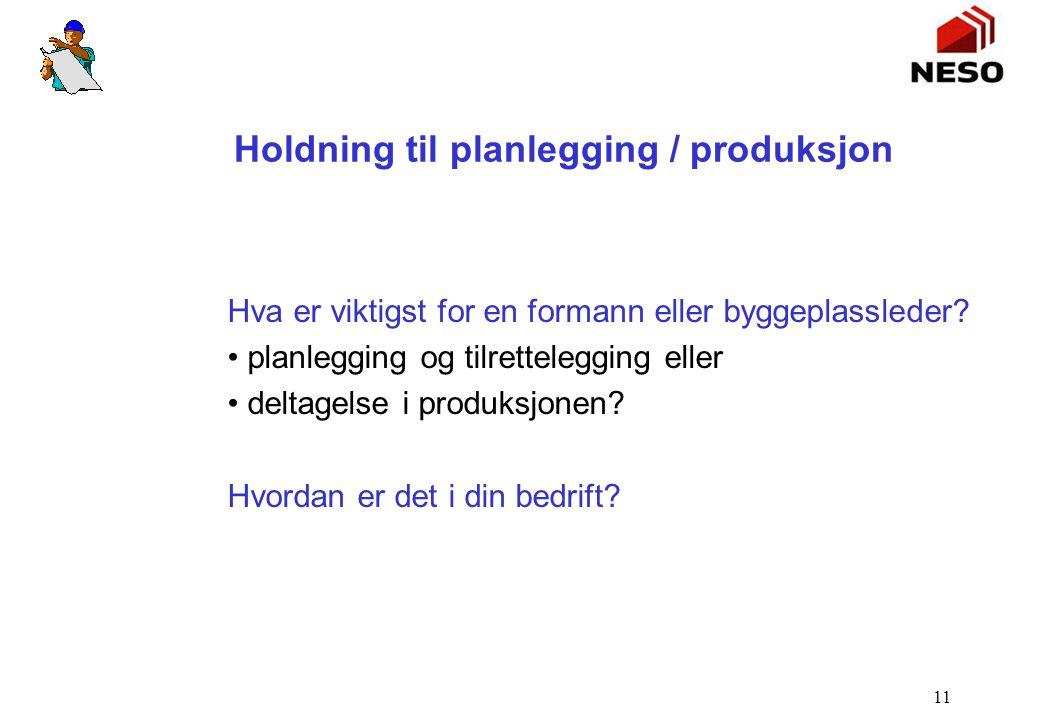 11 Holdning til planlegging / produksjon Hva er viktigst for en formann eller byggeplassleder? planlegging og tilrettelegging eller deltagelse i produ