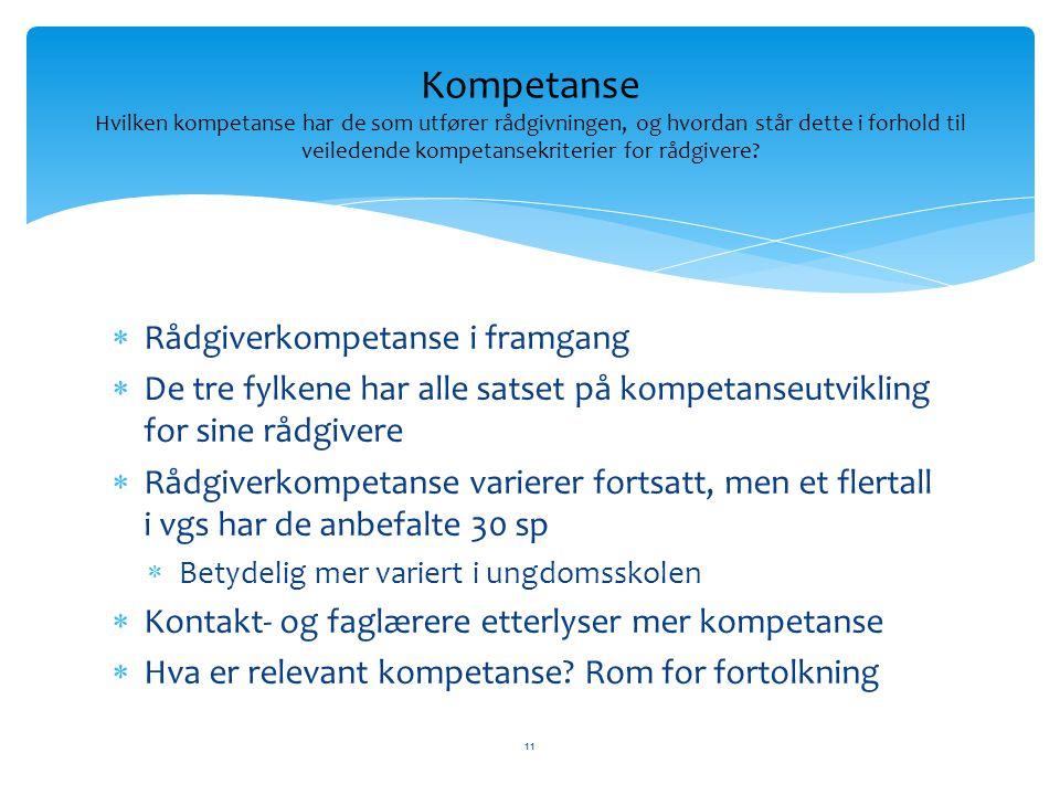  Rådgiverkompetanse i framgang  De tre fylkene har alle satset på kompetanseutvikling for sine rådgivere  Rådgiverkompetanse varierer fortsatt, men