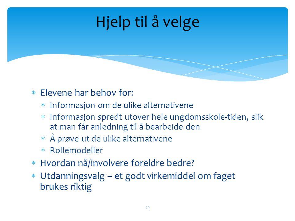  Elevene har behov for:  Informasjon om de ulike alternativene  Informasjon spredt utover hele ungdomsskole-tiden, slik at man får anledning til å