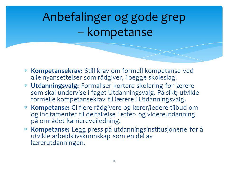  Kompetansekrav: Still krav om formell kompetanse ved alle nyansettelser som rådgiver, i begge skoleslag.  Utdanningsvalg: Formaliser kortere skoler
