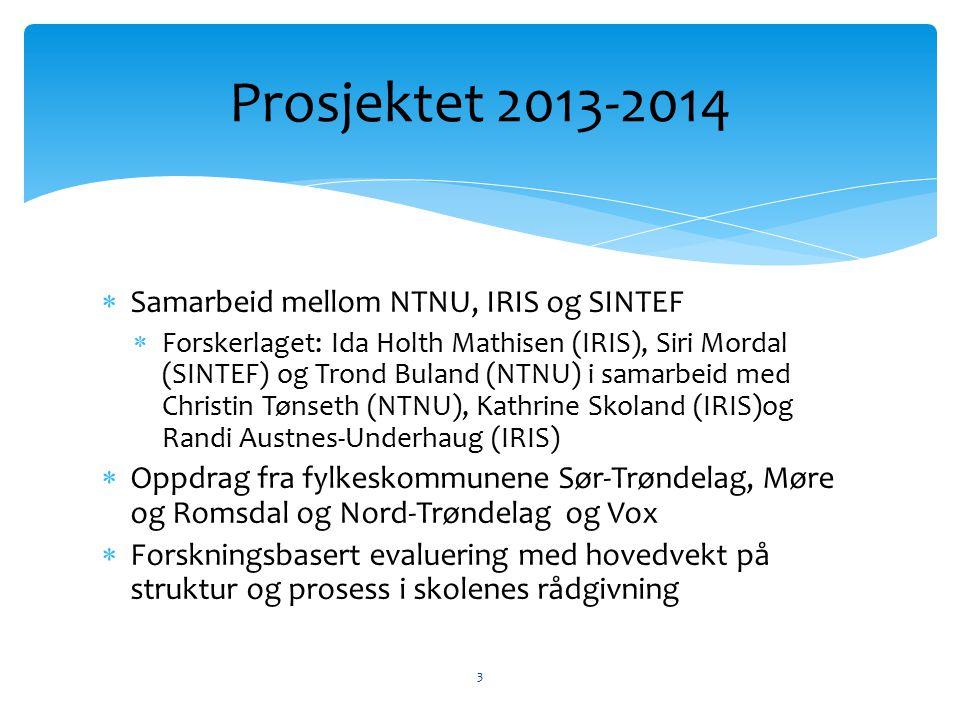  Samarbeid mellom NTNU, IRIS og SINTEF  Forskerlaget: Ida Holth Mathisen (IRIS), Siri Mordal (SINTEF) og Trond Buland (NTNU) i samarbeid med Christi