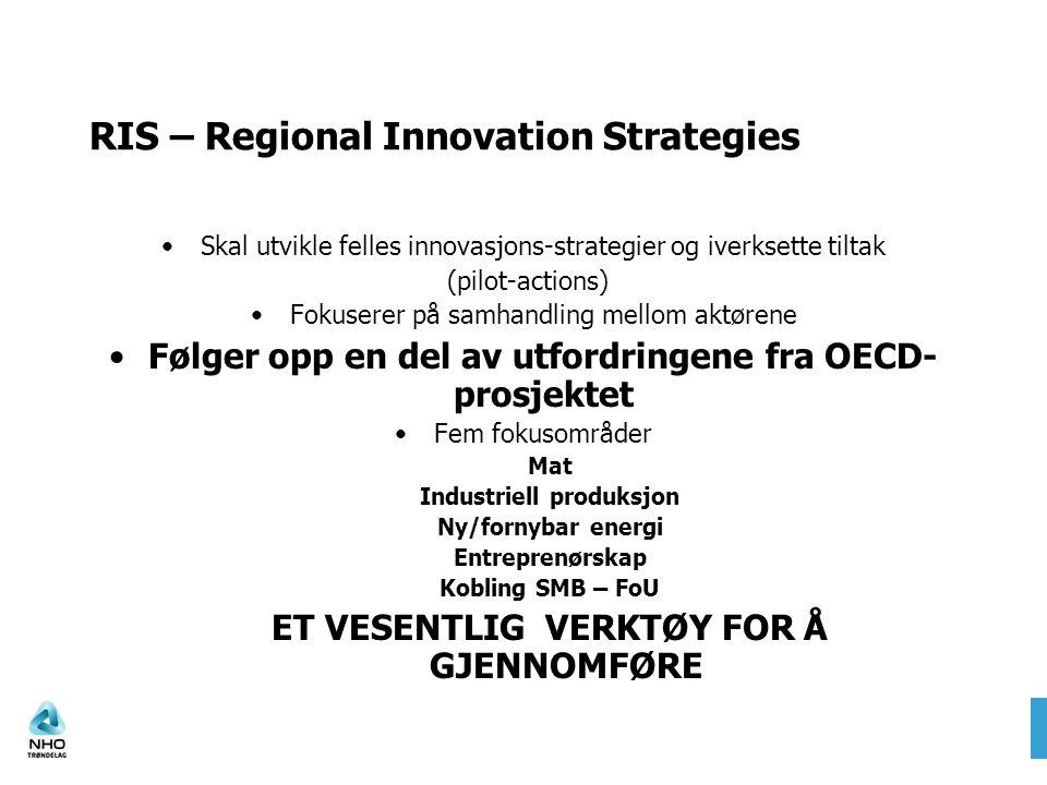 RIS – Regional Innovation Strategies Skal utvikle felles innovasjons-strategier og iverksette tiltak (pilot-actions) Fokuserer på samhandling mellom a
