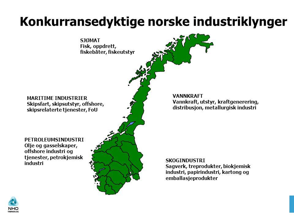 Konkurransedyktige norske industriklynger SJØMAT Fisk, oppdrett, fiskebåter, fiskeutstyr SKOGINDUSTRI Sagverk, treprodukter, biokjemisk industri, papi