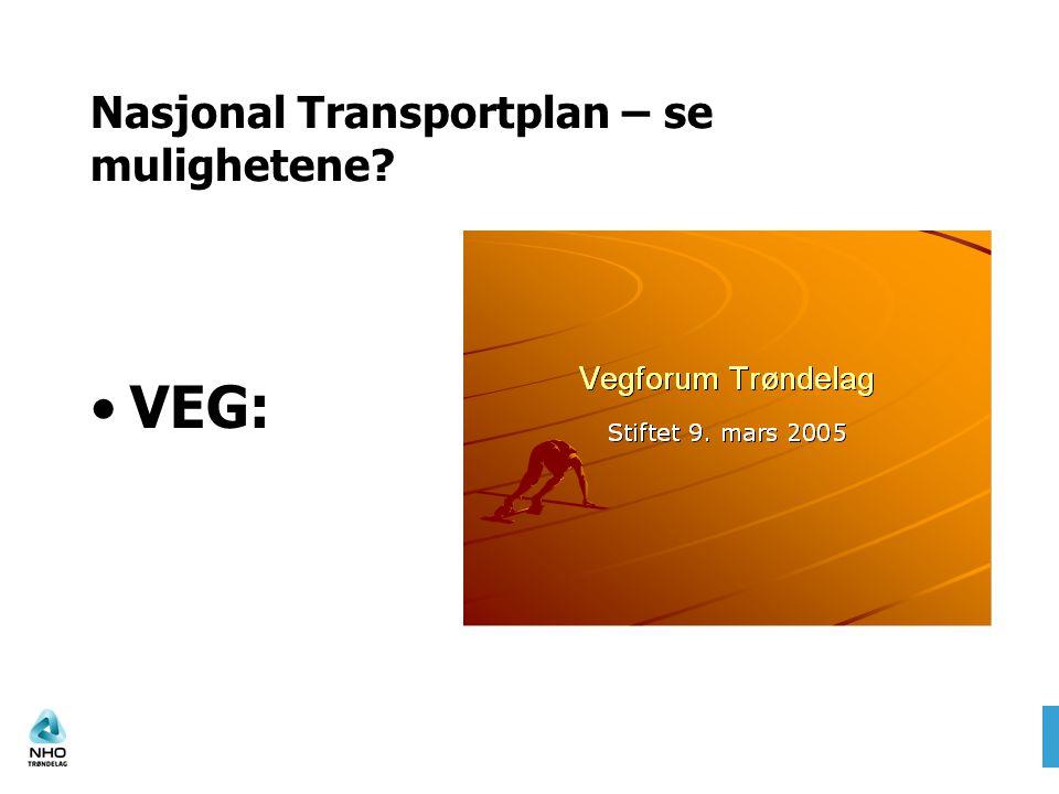 Nasjonal Transportplan – se mulighetene? VEG: Presentasjon av Vegforum Trøndelag.pptPresentasjon av Vegforum Trøndelag.ppt