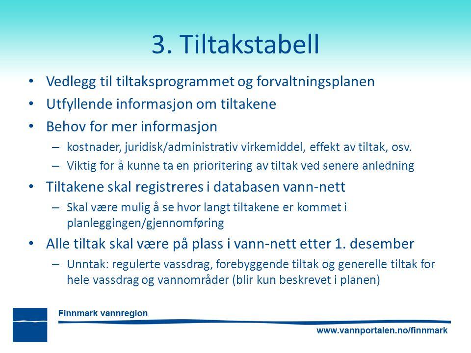 3. Tiltakstabell Vedlegg til tiltaksprogrammet og forvaltningsplanen Utfyllende informasjon om tiltakene Behov for mer informasjon – kostnader, juridi