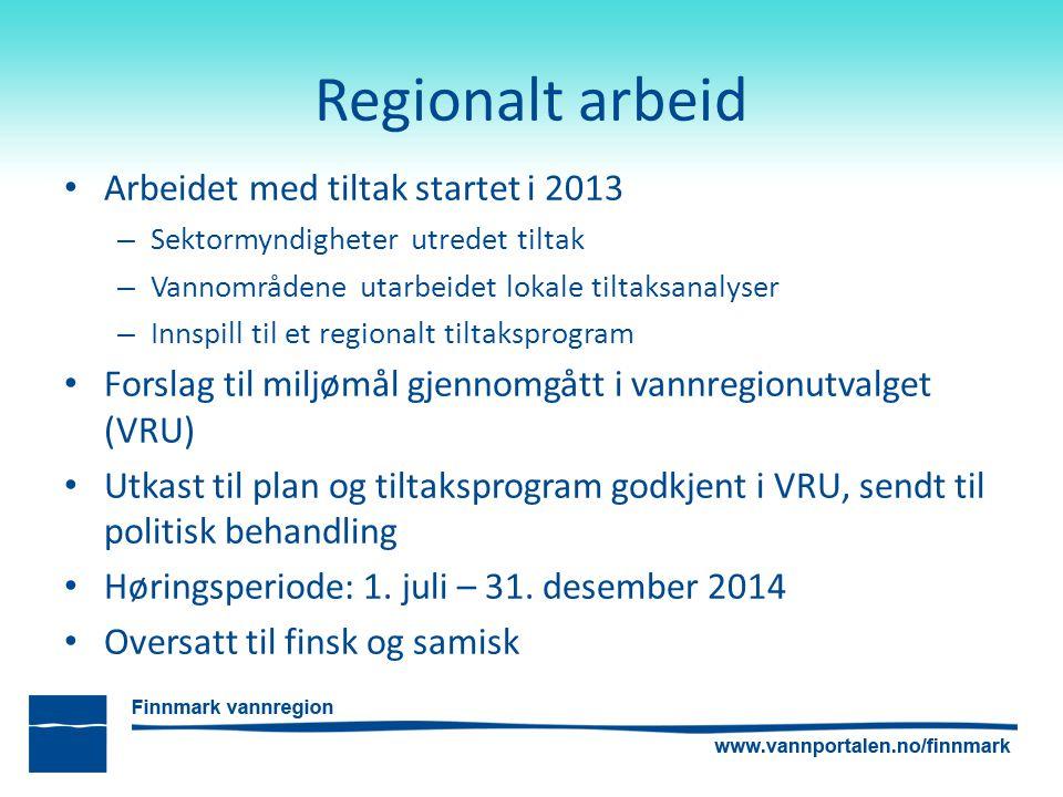 Regionalt arbeid Arbeidet med tiltak startet i 2013 – Sektormyndigheter utredet tiltak – Vannområdene utarbeidet lokale tiltaksanalyser – Innspill til
