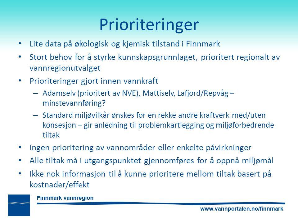 Prioriteringer Lite data på økologisk og kjemisk tilstand i Finnmark Stort behov for å styrke kunnskapsgrunnlaget, prioritert regionalt av vannregionutvalget Prioriteringer gjort innen vannkraft – Adamselv (prioritert av NVE), Mattiselv, Lafjord/Repvåg – minstevannføring.