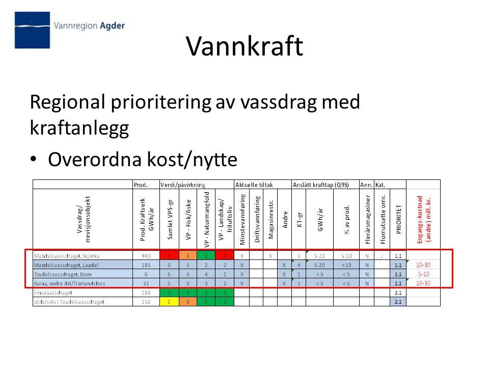 Vannkraft Regional prioritering av vassdrag med kraftanlegg Overordna kost/nytte