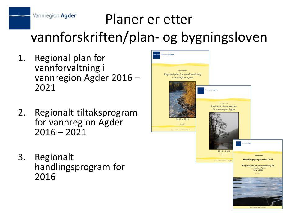 Planer er etter vannforskriften/plan- og bygningsloven 1.Regional plan for vannforvaltning i vannregion Agder 2016 – 2021 2.Regionalt tiltaksprogram for vannregion Agder 2016 – 2021 3.Regionalt handlingsprogram for 2016