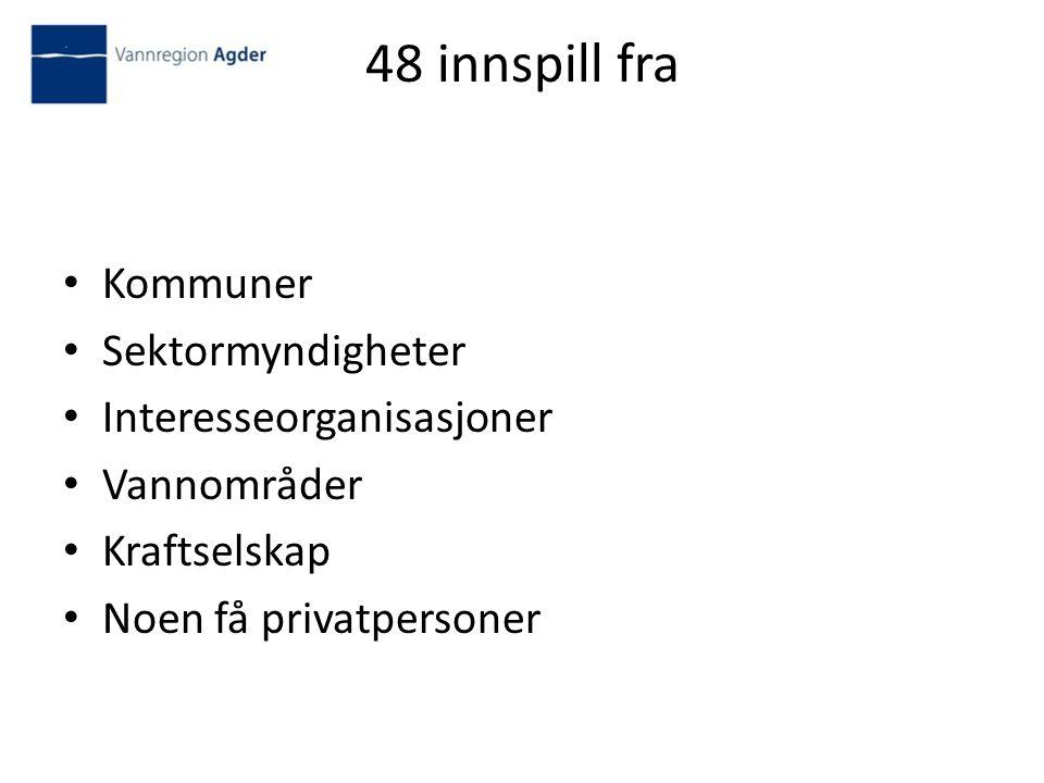 48 innspill fra Kommuner Sektormyndigheter Interesseorganisasjoner Vannområder Kraftselskap Noen få privatpersoner