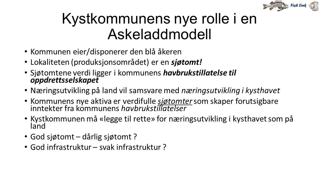 Kystkommunens nye rolle i en Askeladdmodell Kommunen eier/disponerer den blå åkeren Lokaliteten (produksjonsområdet) er en sjøtomt! Sjøtomtene verdi l