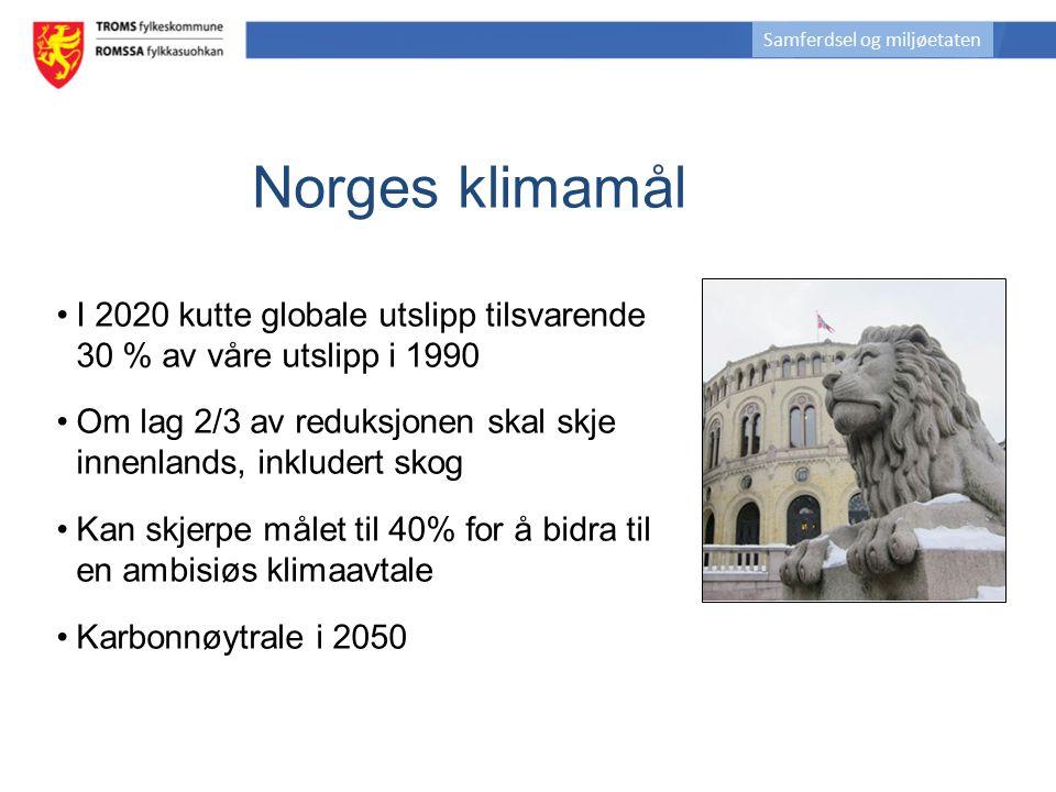 Norges klimamål I 2020 kutte globale utslipp tilsvarende 30 % av våre utslipp i 1990 Om lag 2/3 av reduksjonen skal skje innenlands, inkludert skog Ka