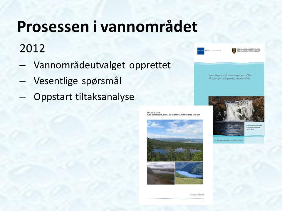 Prosessen i vannområdet 2012 – Vannområdeutvalget opprettet – Vesentlige spørsmål – Oppstart tiltaksanalyse
