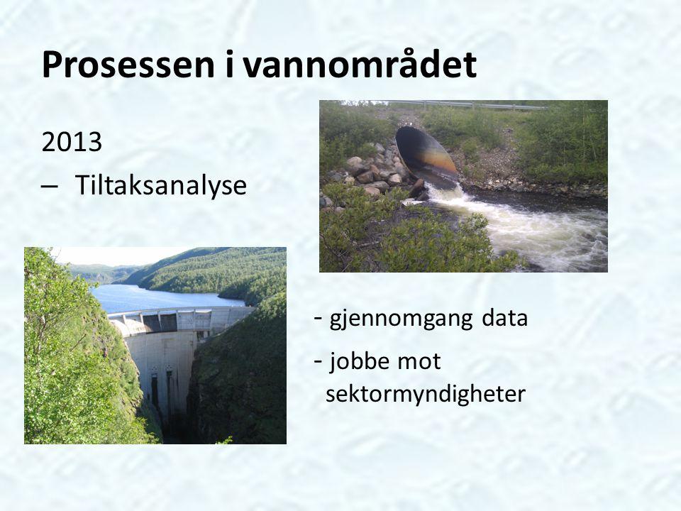 Prosessen i vannområdet 2013 – Tiltaksanalyse - gjennomgang data - jobbe mot sektormyndigheter