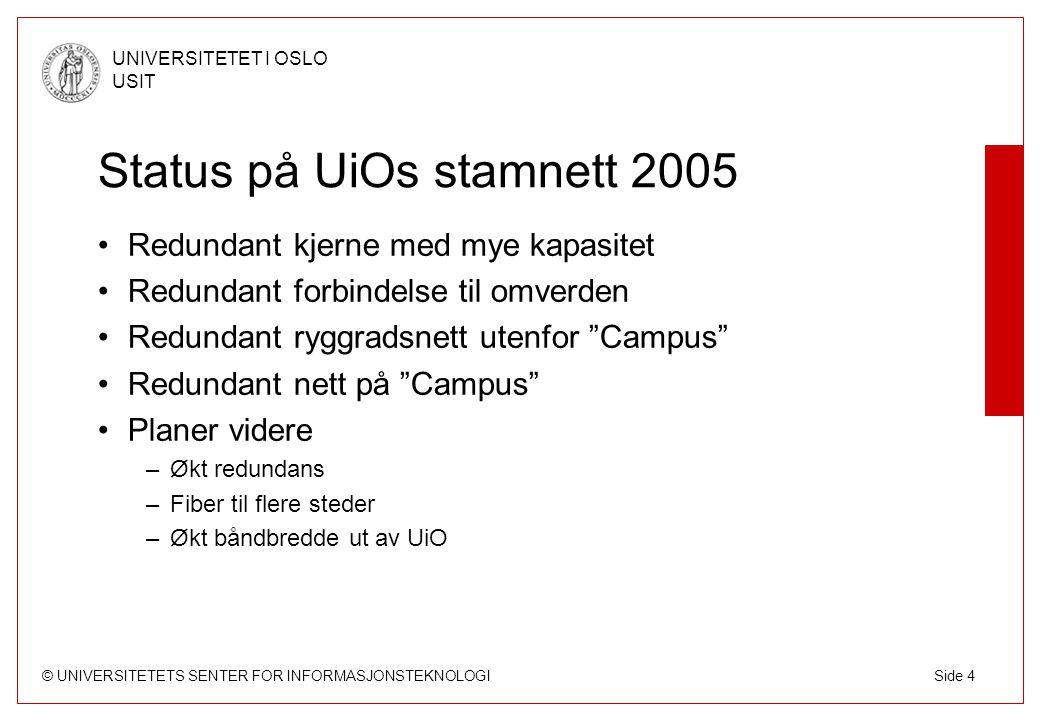 © UNIVERSITETETS SENTER FOR INFORMASJONSTEKNOLOGI UNIVERSITETET I OSLO USIT Side 4 Status på UiOs stamnett 2005 Redundant kjerne med mye kapasitet Redundant forbindelse til omverden Redundant ryggradsnett utenfor Campus Redundant nett på Campus Planer videre –Økt redundans –Fiber til flere steder –Økt båndbredde ut av UiO